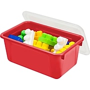 """Storex Small Cubby Bin with Cover, 12.2"""" x 7.8"""" x 5.1"""", Red, Set of 3 (STX62407U06C)"""