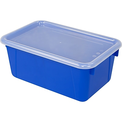 "Storex Small Cubby Bin with Cover, 12.2"" x 7.8"" x 5.1"", Blue, Set of 3 (STX62408U06C)"