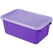 "Storex Small Cubby Bin with Cover, 12.2"" x 7.8"" x 5.1"", Purple, Set of 3 (STX62411U06C)"