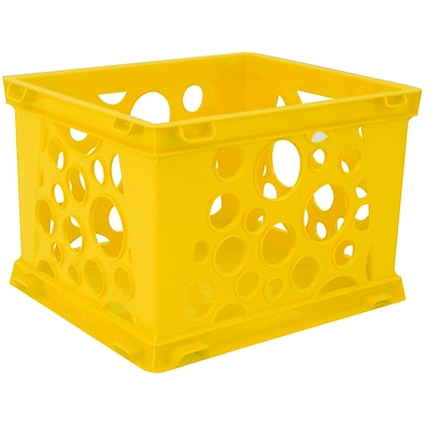Storex Micro Crate, Yellow, 5.8