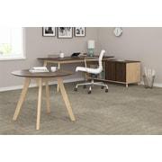 Ameriwood AX1 L-Shape Desk and Meeting Table Bundle, Walnut (9714096COM)