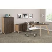 Ameriwood AX1 L-Shape Desk and Storage Cabinet Bundle, Walnut (9712096COM)