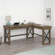 Ameriwood Home Wildwood L-Shaped Desk with Lift Top, Rustic Gray (9552096COM)