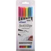 Uchida Bright Le Plume II Double-Ended Brush Lettering Marker Set 6/Pkg (1122BL-6K)