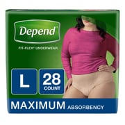 Depend FIT-FLEX Incontinence Underwear for Women, Maximum Absorbency, Large, Tan (12537X)
