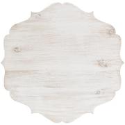 "Hampton Art White Cake Stand Large Wood W/Galvanized Edge 11.8""H x 11.8""W x 9.4""D (WD0175)"