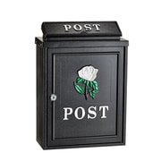 AdirHome Black Steel Embossed Rose Postbox Mailbox (631-0801)