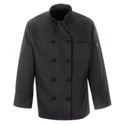 Chef Designs Long Sleeve Ten Knot-Button Chef Coat Black