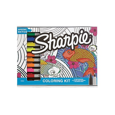 Sharpie Permanent Markers, Fine &Ultra-Fine Tip, Assorted Colors with Adult Coloring Book, 21 pcs.