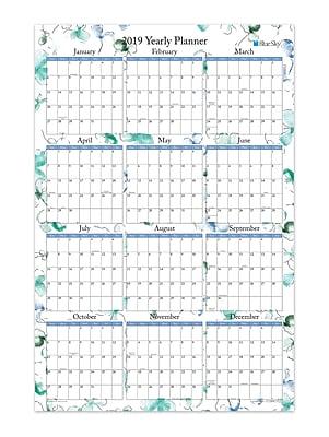 "2019 Blue Sky Laminated Calendar BS Lindley 36"" H x 24 "" W RY Horizontal/Vertical (100030-19)"