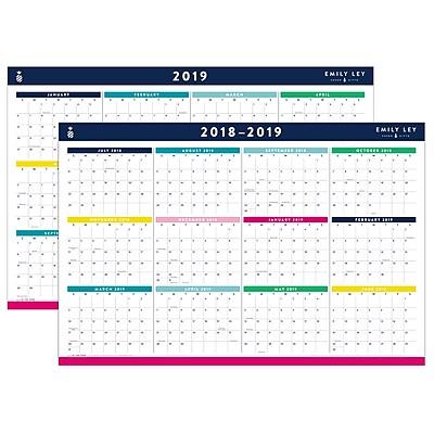 "2019 Emily Ley Academic/Regular Year Erasable Wall Calendar, 12 Months, July/January Start, 24"" x 36"" (EL100-550S-19)"