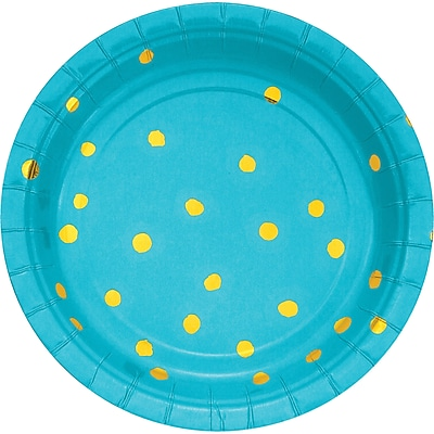 Creative Converting Pack of 24 Bermuda Blue and Gold Foil Dot Dessert Plates (DTC329944PLTAB