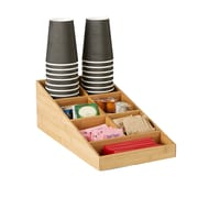 Mind Reader Coffee Condiment and Accessories Organizer, 7 Compartments, Brown (BMCOMP7-BRN)