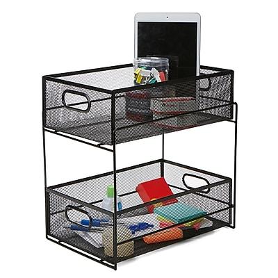 Mind Reader 2 Tier Metal Mesh Storage Baskets Organizer, Home, Office,  Kitchen, Bathroom, Black CABASK2T BLK