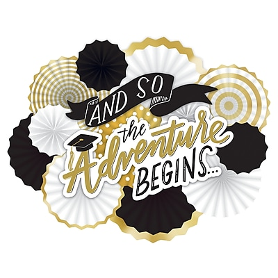 Amscan Graduation The Adventure Begins Deluxe Fan Decorating Kit, White, Gold, Black, Hot Stamped Paper (290082)