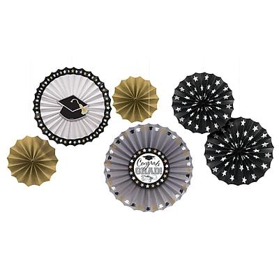 Amscan Congrats Grad Fan Decoration Assortment, Black, Silver, Gold, Paper, 2/Pack, 6 Per Pack (291006)