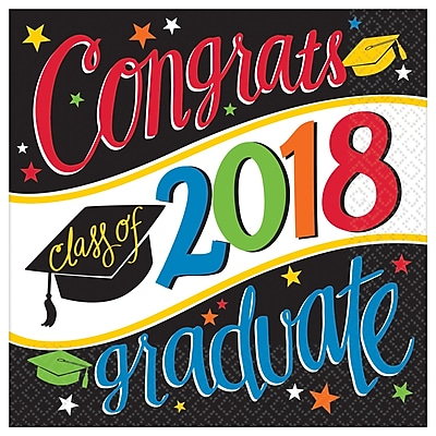 Amscan Graduation Going Places 2018 Luncheon Napkins, 6.5