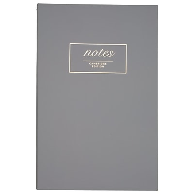 Cambridge® Work Style Casebound Fashion Notebook, 80 Sheets, Gray, 5 1/2