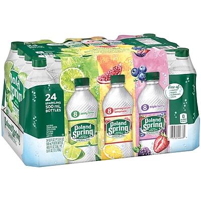 Poland Spring Sparkling Water, Pomegranate Lemonade, Triple Berry & Lime, 16.9 oz. Bottles, 24/Pack (12349685)