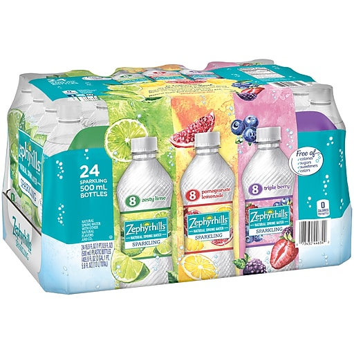 Zephyrhills Sparkling Water, Pomegranate Lemonade, Triple Berry, & Lime,  16 9 oz  Bottles, Variety Pack of 24 (12349686)