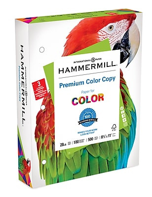 Hammermill® Paper, Premium Color Copy Printer Paper, 100 Bright, 28lb, 8.5x11, 3 Hole Punch, 500 Sheets/Ream, (102500)