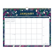 """2019 Day Designer Wall Calendar, Abstract Floral, 15"""" H x 12"""", W RY Monthly, Wirebound (109229)"""