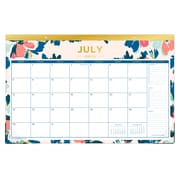 "2018-2019 Day Designer for Blue Sky 17"" x 11"" Monthly Desk Pad, Carrie Floral (108314)"
