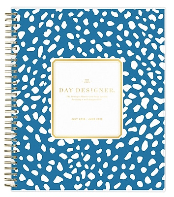 "2018-2019 Day Designer for Blue Sky 8"" x 10"" Daily/Monthly planner, Deep Blue Spotty (108324)"