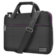 SumacLife School Business Messenger Bag Briefcase fits 12 Inch 13 Inch  Laptop, Grey with Purple Trim (PT_NBKELA503_13)