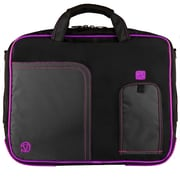 SumacLife 14 Inch Business Messenger Briefcase Laptop Case, Black Purple (PT_NBKLEA737_W1)