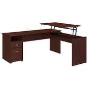 Bush Furniture Cabot 72W 3 Position L Shaped Sit to Stand Desk, Harvest Cherry (CAB050HVC)