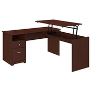 Bush Furniture Cabot 60W 3 Position L Shaped Sit to Stand Desk, Harvest Cherry (CAB043HVC)