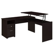 Bush Furniture Cabot 60W 3 Position L Shaped Sit to Stand Desk, Espresso Oak (CAB043EPO)
