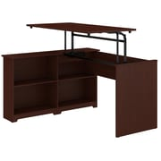 Bush Furniture Cabot 52W 3 Position Sit to Stand Corner Bookshelf Desk, Harvest Cherry (WC31416-03)