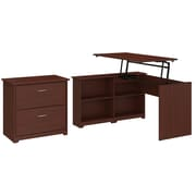 Bush Furniture Cabot 52W 3 Position Sit to Stand Corner Bookshelf Desk with Lateral File Cabinet, Harvest Cherry (CAB056HVC)