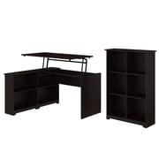 Bush Furniture Cabot 52W 3 Position Sit to Stand Corner Bookshelf Desk with 6 Cube Organizer, Espresso Oak (CAB057EPO)
