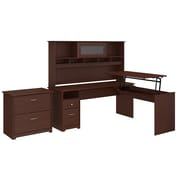 Bush Furniture Cabot 72W 3 Position L Shaped Sit to Stand Desk with Hutch and File Cabinet, Harvest Cherry (24337160)