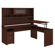 Bush Furniture Cabot 72W 3 Position L Shaped Sit to Stand Desk with Hutch, Harvest Cherry (24337161)