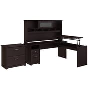 Bush Furniture Cabot 72W 3 Position L Shaped Sit to Stand Desk with Hutch and File Cabinet, Espresso Oak (24337162)
