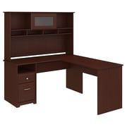 Bush Furniture Cabot 60W L Shaped Computer Desk with Hutch and Drawers, Harvest Cherry (24337167)