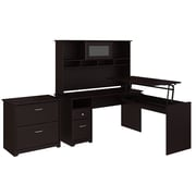 Bush Furniture Cabot 60W 3 Position L Shaped Sit to Stand Desk with Hutch and File Cabinet, Espresso Oak (24337178)