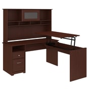 Bush Furniture Cabot 60W 3 Position L Shaped Sit to Stand Desk with Hutch, Harvest Cherry (24337182)