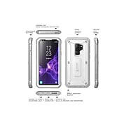 i-Blason SUPCASE Galaxy S9 Case Full Body Rugged Holster Case With Screen Protector, Unicorn Beetle Pro White (S-G-9-UBP-SP-WH)