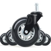 Lifelong Office Chair Casters Replacement Chair Wheels, Rollerblade Style, Black & Grey, 5/Set (BL2375)