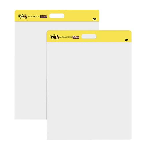 Post it self stick wall pad 20 x 23 unruled plain white 2 pk