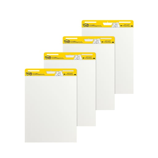 Post it easel pad 25 x 30 unruled plain white 4 pk 559 vad