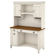 "Bush Furniture Stanford Computer Desk with Hutch and Drawers, 48""W Antique White/Tea Maple (STF002AW)"