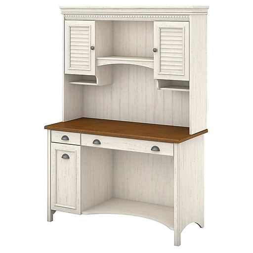Bush Furniture Stanford Computer Desk With Hutch And Drawers 48 W Antique White Tea Maple Stf002aw