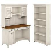 "Bush Furniture Stanford Computer Desk with Hutch and 5 Shelf Bookcase, 48""W Antique White/Tea Maple (STF004AW)"