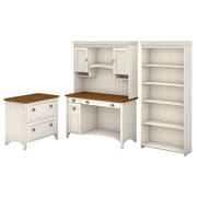"Bush Furniture Stanford Computer Desk with Hutch, Bookcase and Lateral File Cabinet, 48""W Antique White/Tea Maple (STF008AW)"